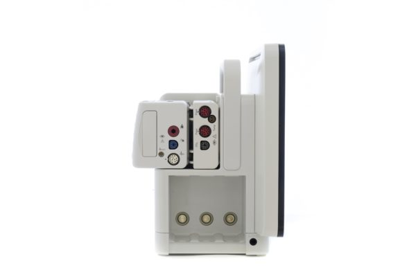 Philips IntelliVue Monitoring MX550 - Seitenansicht mit X2 und Modul sowie dem integrierten Modul-Rack.