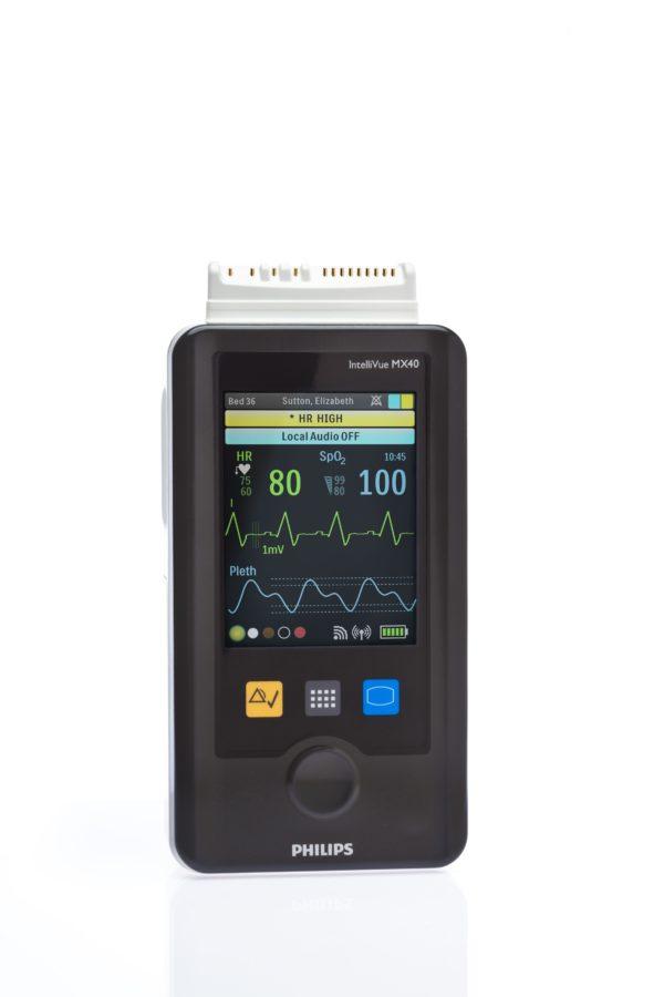 Philips IntelliVue MX40 mit seinem farbigen Display - Frontalansicht
