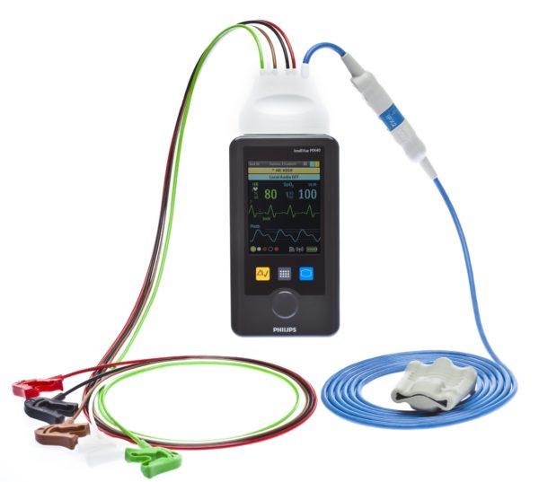 Philips IntelliVue MX40 ist ein tragbarer Telemetrie-Monitor. Er ermöglicht die kontinuierliche EKG-Überwachung und optional FAST SpO2-Pulsoxymetrie und Respiration (Impendanz).