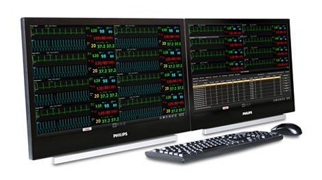 Die Efficia CMS200 Überwachungszentrale kann optional mit bis zu zwei Bildschirmen betrieben werden.