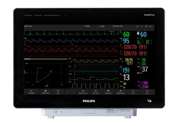 Der Patientenmonitor Philips IntelliVue MX750 hat ein großes 19-Zoll-Display auf dem 12 Kurven von bis zu 8 gemessenen Vitalparamtern angezeigt werden können.