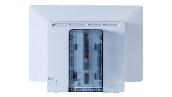 Die Rückseite des IntelliVue MX750 bietet diverse Anschlüsse für zusätzliche Displays, Netzwerkkabel, sowie für USB- und andere Geräte.