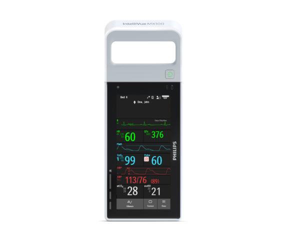 Der Patientenmonitor Philips IntelliVue MX100 passt die Darstellung des Displays automatisch an die Ausrichtung des Gerätes an. Ein Betrieb im Hochformat und im Querformat ist möglich.