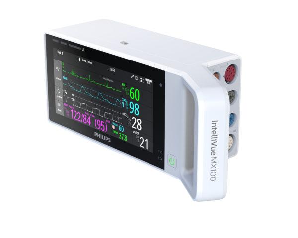 Der Patientenmonitor Philips IntelliVue MX100 ist ein kleiner, eigenständiger Patientenmonitor mit Touchscreen.